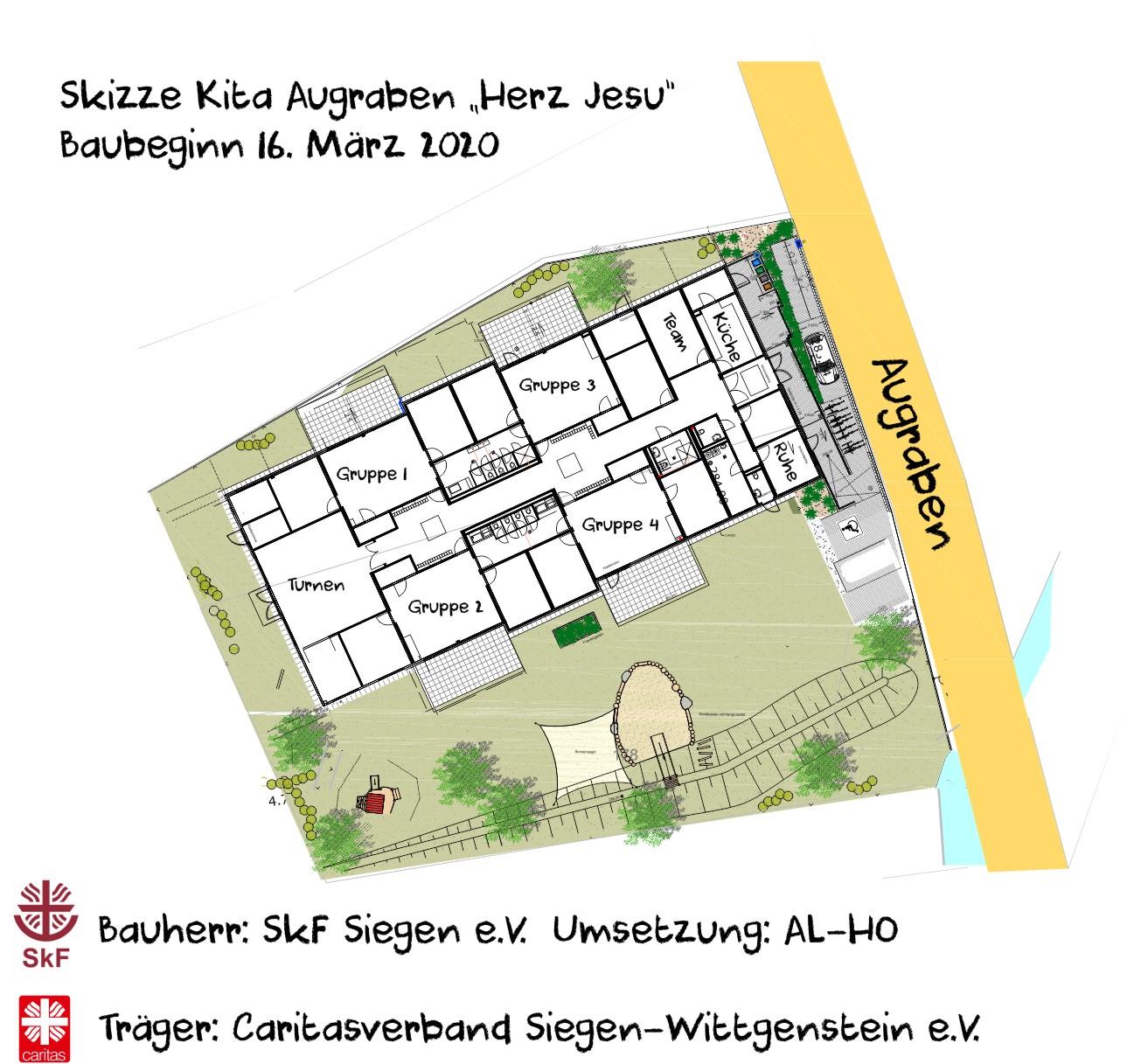 "Skizze Kita Augraben ""Herz Jesu"" Baubeginn 16.MNärz 2020"