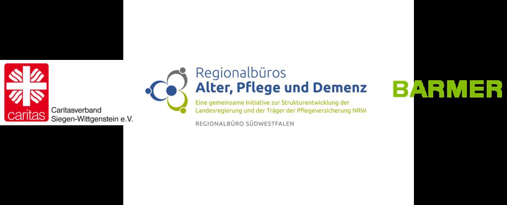 Logos des Caritasverbandes Siegen-Wittgenstein, des Regionalbüros Südwestfalen und der BARMER
