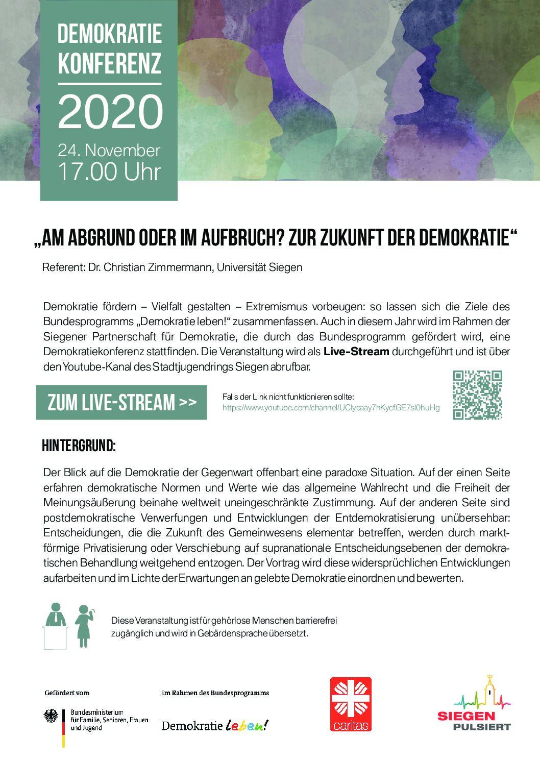 Digitale Demokratiekonferenz am 24. November